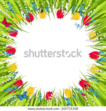 background with green grass and spring flowers - stock vector