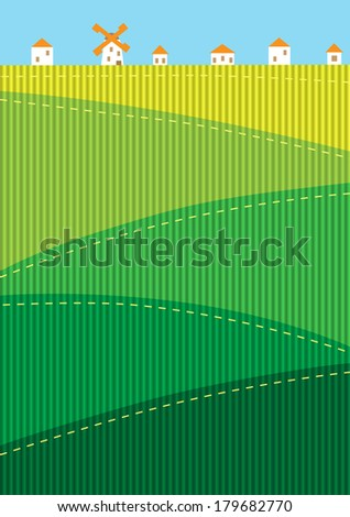 Background with green hills - stock vector