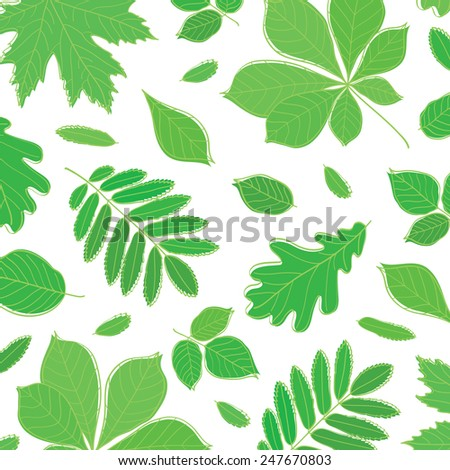 Background with green leaves of different trees. Spring, summer. Sketch, design elements. Vector illustration.
