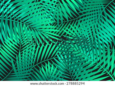 Background with green palm tree leaves. - stock vector
