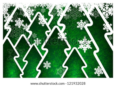 Background with green trees and snowflakes