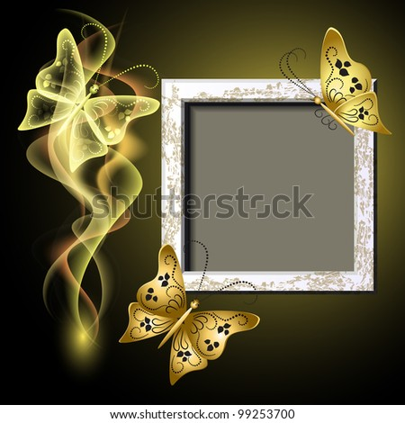 Background with grungy photo frame, butterflies and smoke for inserting text and photo - stock vector