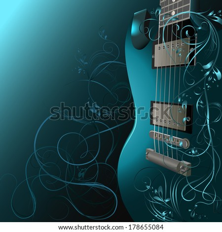 Background with guitar, ornaments and space for text.  - stock vector