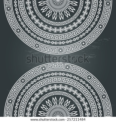Background with half round monochromatic ornamental ethnic texture in white color isolated on chalkboard background. vector illustration - stock vector