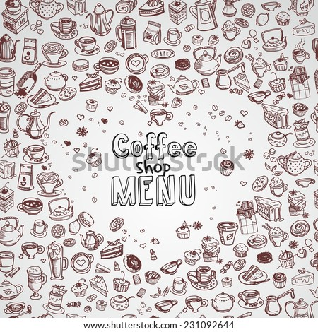 background with hand drawn coffee and confectionery, vector - stock vector