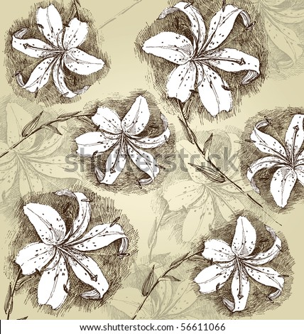 background with hand drawn lillies - stock vector