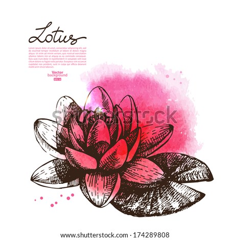 Background with hand drawn sketch beautiful lotus flower and watercolor blot. Vector illustration - stock vector
