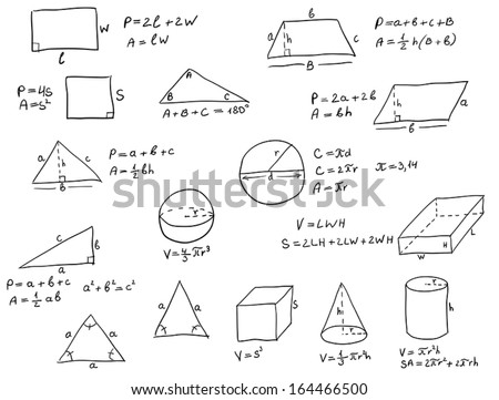 Background with hand written geometry formulas and geometric shapes and figures on white paper - stock vector