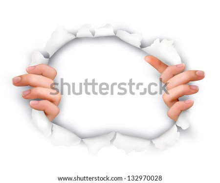 Background with hands showing trough a hole of in white paper. Vector. - stock vector