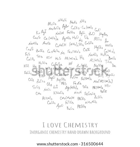 Background with handwritten chemical formulas, inorganic molecules - vector illustration, hand drawn chemistry vector pattern with formulas of different molecular combinations, I love Chemistry - stock vector