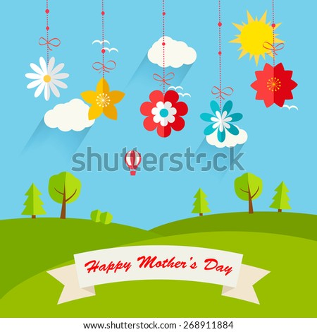 Background with hanging flowers  and landscape, vector illustration. Happy Motherâ??s day  greeting card - stock vector
