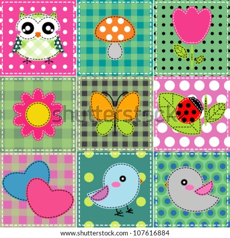 Background with heart, flower, mushrooms, butterfly and birds - stock vector