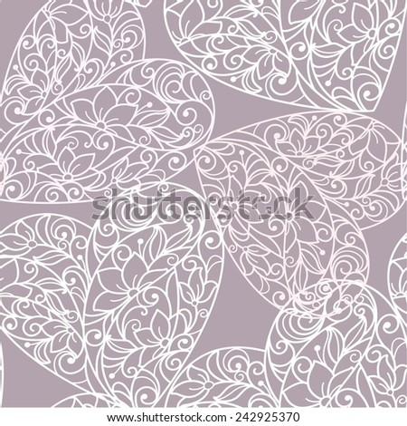 Background with heart from flowers - stock vector