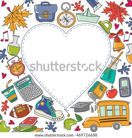 Background with heart text School theme. Doodle icons in cartoon style