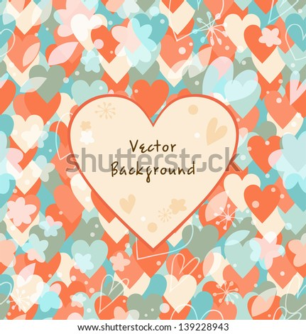 Background with hearts. Vintage multicolor banner