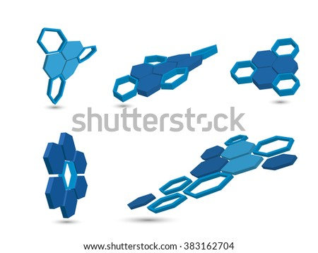 background with hexagons figures - stock vector