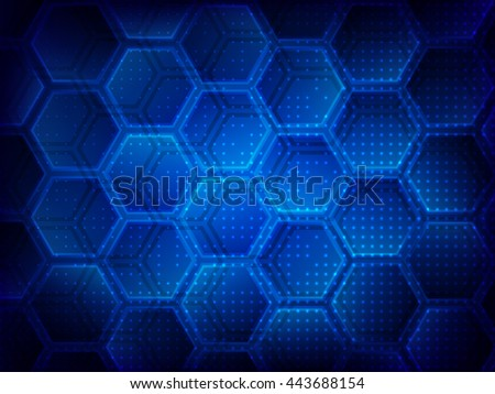 Background with hexagons. Hi-tech digital technology concept. Abstract background. Vector illustration - stock vector
