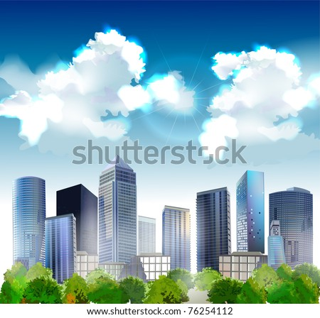background with hi-rise buildings - stock vector