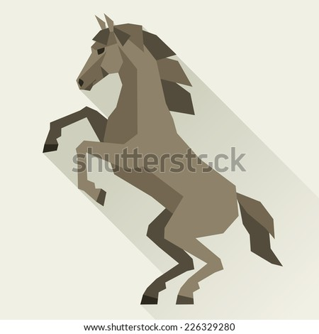 Background with horse standing in flat style. - stock vector