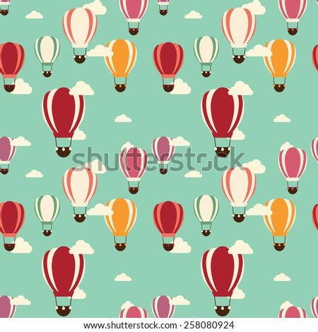 Background with hot air balloons, seamless pattern, vector illustration - stock vector