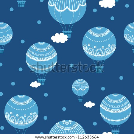 Background with hot air balloons. Vector illustration of colorful hot air balloons. Vintage seamless pattern. - stock vector