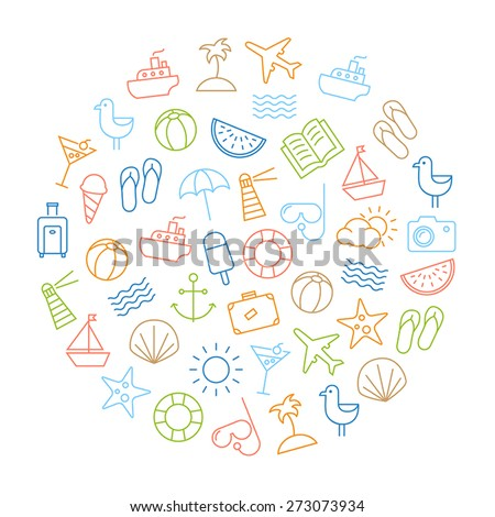 Background with icons representing summer, holidays and relaxing on the beach. Modern, thin lines style design. - stock vector