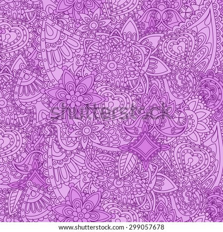 Background with Indian patterns on lilac - stock vector