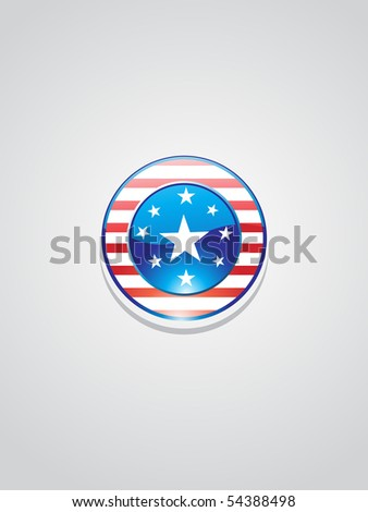 background with isolated button in us flag, vector image - stock vector