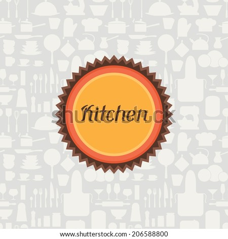 Background with kitchen and restaurant utensils icons. - stock vector