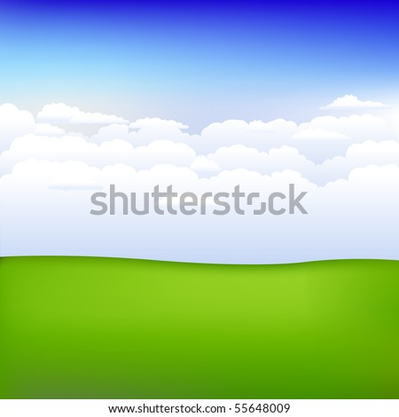 Background With Landscape And Hills, Blue Sky And Clouds, Vector Illustration - stock vector
