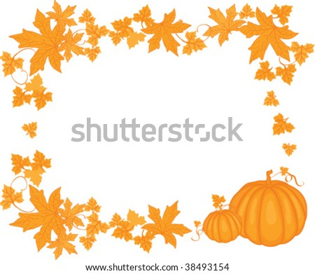 Background with leaves and pumpkins
