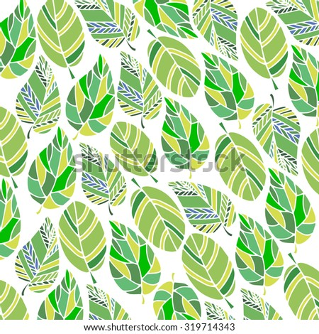 background with leaves.  leaf vector illustration. green leaves