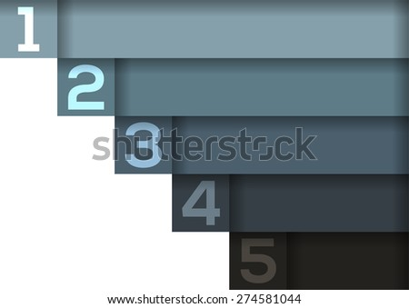 Background with 5 light to dark blue-grey horizontal stripes and enough copyspace for your infographic - stock vector