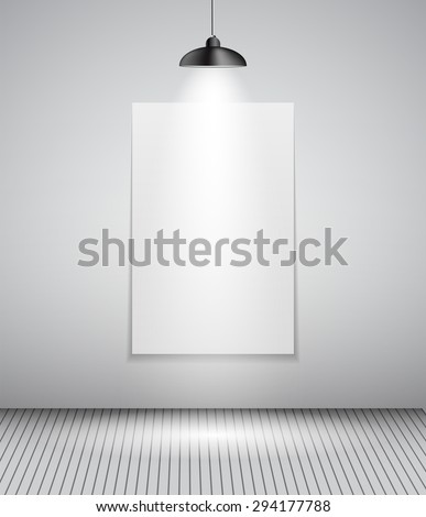Background with Lighting Lamp and Frame. Empty Space for Your Text or Object. EPS10 - stock vector