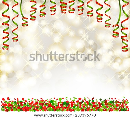 Background with lights, snowflakes, serpentine and confetti - stock vector