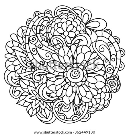 Mandala Painting Vector Ethnic Oriental Circle Stock