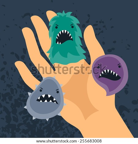 Background with little angry viruses, microbes and hand. - stock vector