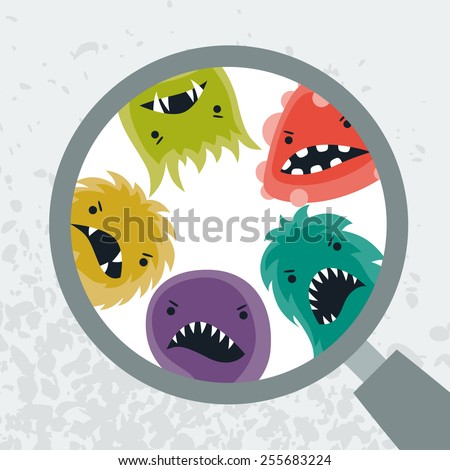 Background with little angry viruses, microbes and magnifier. - stock vector
