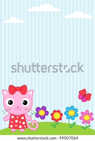 Background with little cat, flying butterflies and flowers - stock vector