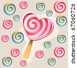 Background with lollipops and sweet heart - stock photo