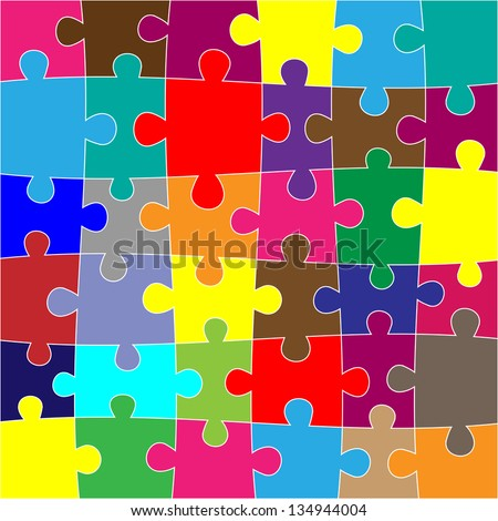 Background with many puzzle different colors. eps10 - stock vector