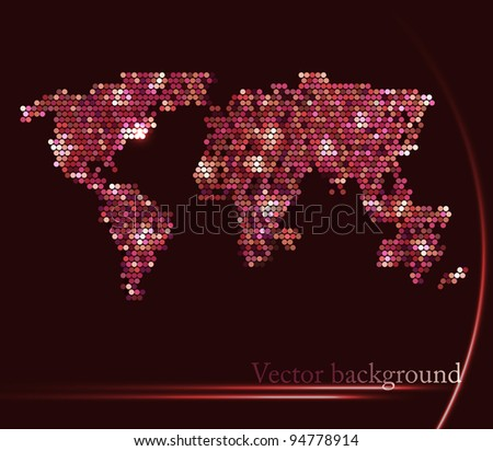 Background with map of the world - stock vector