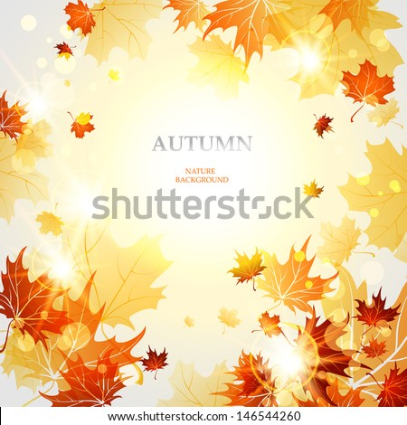 Background with maple autumn leaves - stock vector
