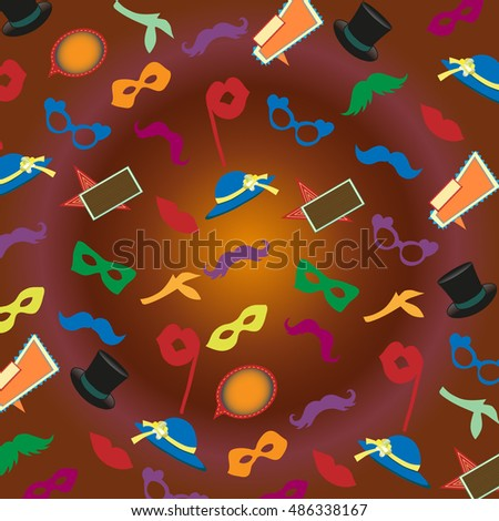 background with masquerade masks, mustaches, hats