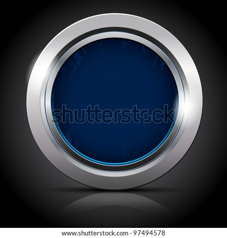 Background with metal circle - frame for your text - stock vector
