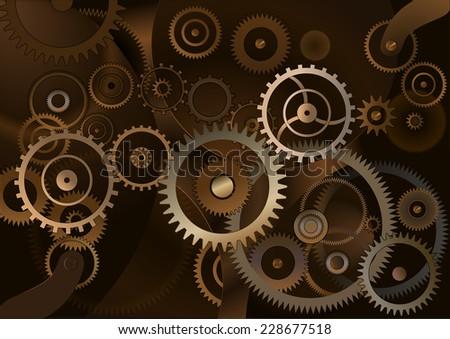 Background with metal cogwheels a clockwork. Macro, extreme closeup clock mechanism - stock vector