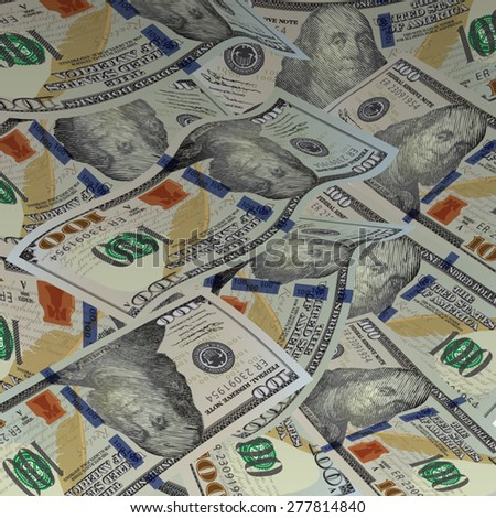 Background with money. New american hundred dollar bills. Vector illustration - stock vector