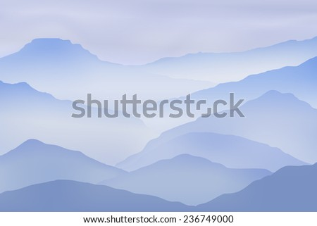 Background with mountains in the fog. EPS10 vector. - stock vector