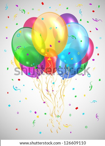 Background with multicolored balloons. Vector illustration. - stock vector