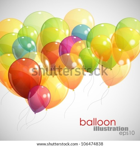 background with multicolored flying balloons - stock vector